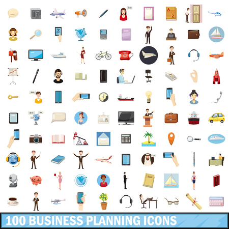 busness: 100 busness planning icons set in cartoon style for any design vector illustration Illustration