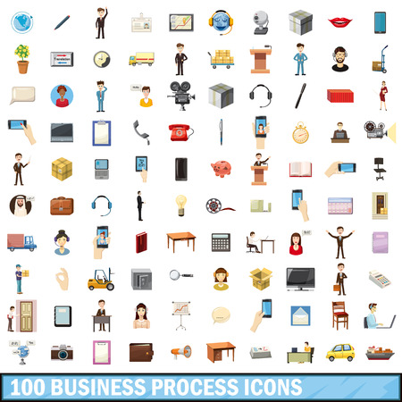 busness: 100 busness process set in cartoon style for any design vector illustration Illustration