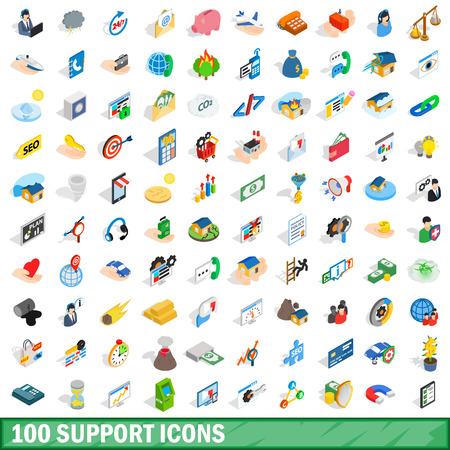100 geplaatste steunpictogrammen, isometrische 3d stijl Stock Illustratie