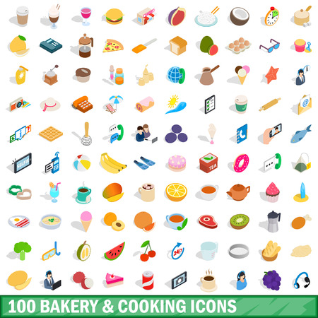 100 bakery cooking icons set, isometric 3d style