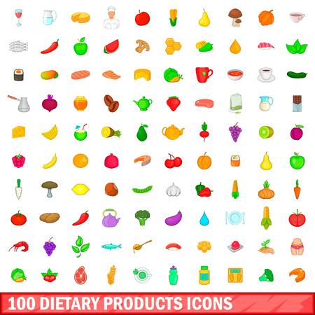 100 ensemble d'icônes de produits diététiques, style cartoon