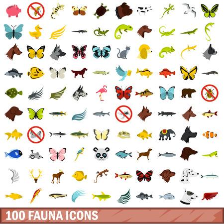 mongoose: 100 fauna icons set, flat style