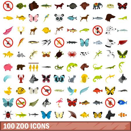 mongoose: 100 zoo icons set, flat style Illustration