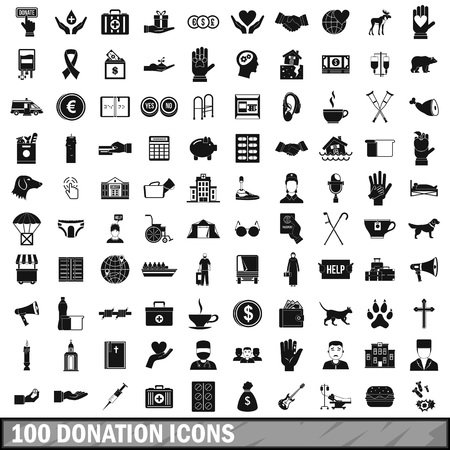 gift accident: 100 donation icons set, simple style