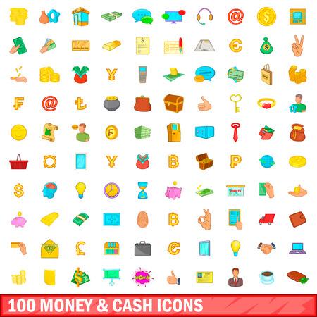 100 money and cash icons set, cartoon style