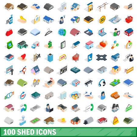 pigsty: 100 shed icons set, isometric 3d style