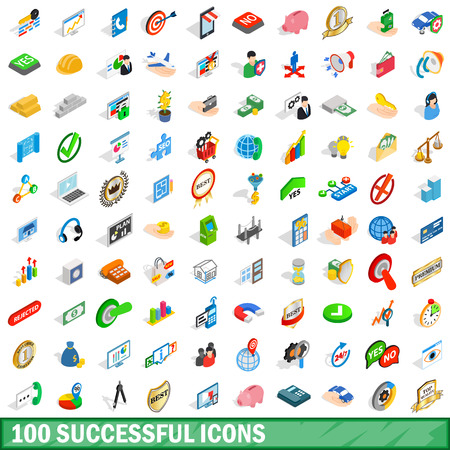 medal like: 100 successful icons set, isometric 3d style