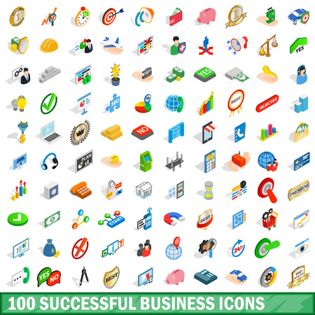 100 successful business icons set, isometric style