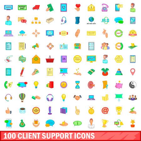 Ensemble d'icônes de support de 100 clients, style de dessin animé