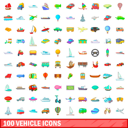 magnyfying glass: 100 vehicle icons set, cartoon style Illustration