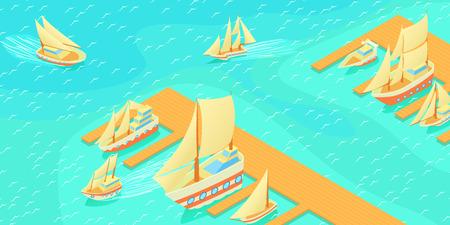 Yachts pier horizontal banner, cartoon style