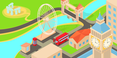 England travel horizontal banner, cartoon style Illustration