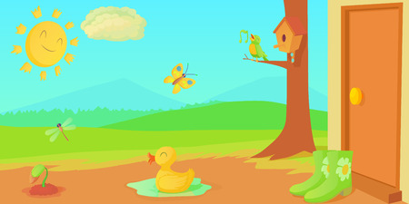 Spring horizontal banner things , cartoon style