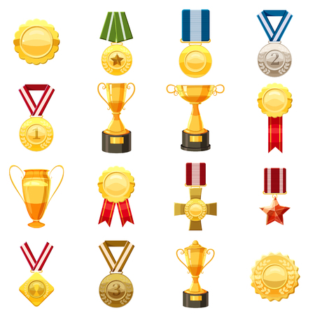 Award icons set, cartoon style Illustration