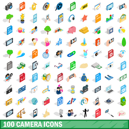 weighted: 100 camera icons set, isometric 3d style Illustration