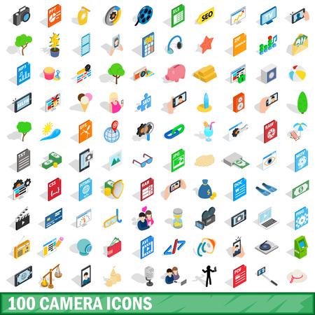 100 camera icons set, isometric 3d style Illustration