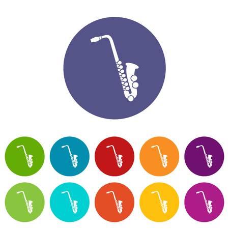 Saxophone set icons Illustration