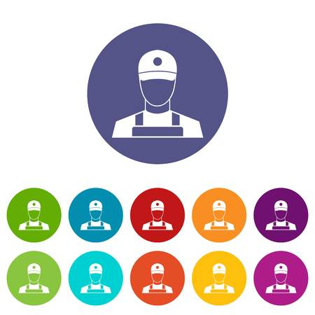 A man in a cap and uniform set icons