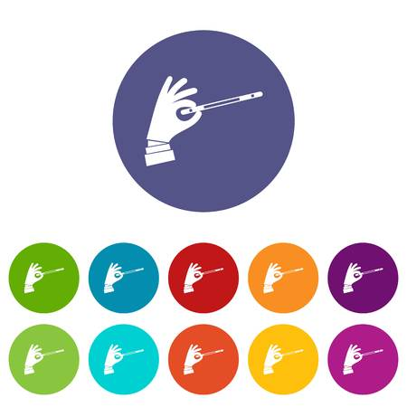 faerie: Magician hand with a magic wand set icons Illustration