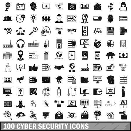 100 cyber security icons set, simple style 免版税图像 - 74910071