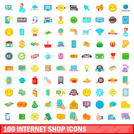100 internet shop icons set, cartoon style