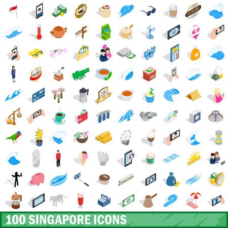 100 singapore icons set, isometric 3d style