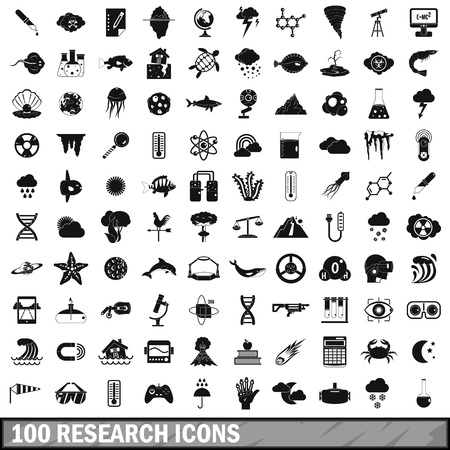 100 research icons set, simple style