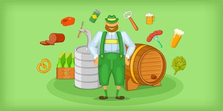 Brewer horizontal banner symbols , cartoon style Illustration