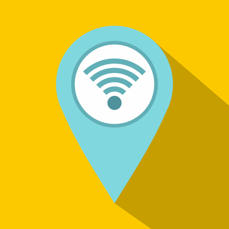 distance marker: Light blue map pointer with wi fi symbol icon Illustration