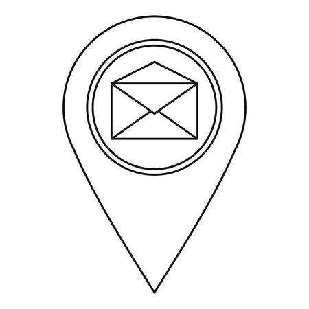 distance marker: Map pin with envelope sign icon, outline style