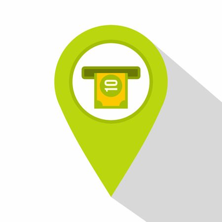distance marker: Green map pin pointer with ATM sign icon