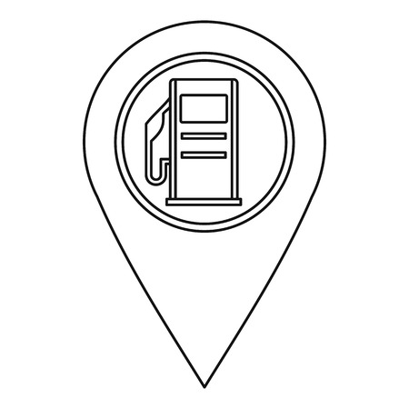 distance marker: Map pin pointer with gas station sign icon