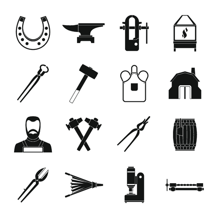 Blacksmith icons set, simple style Illustration