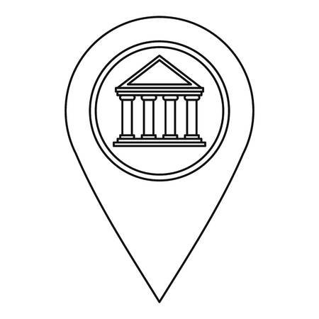 distance marker: Geo tag with bank symbol icon, outline style Illustration