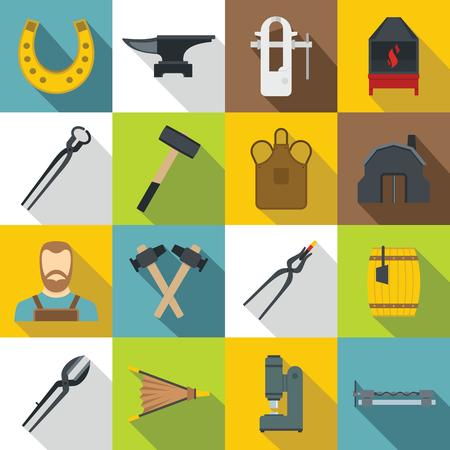 Blacksmith icons set, flat style Illustration