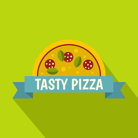 Tasty pizza label icon, flat style