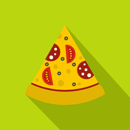Slice of pizza with sausage and tomatoes icon