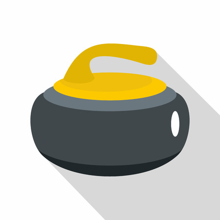 Curling stone with yellow handle icon, flat style Illustration