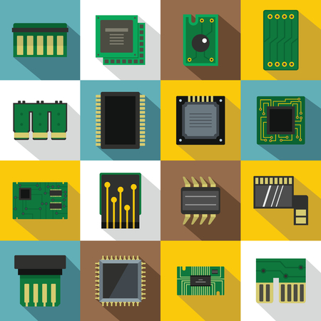 electronic circuit: Computer chips icons set, flat style