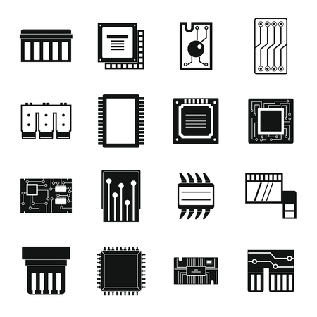 logical: Computer chips icons set, simple style