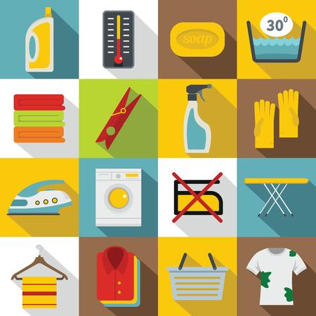 Laundry icons set, flat style Illustration