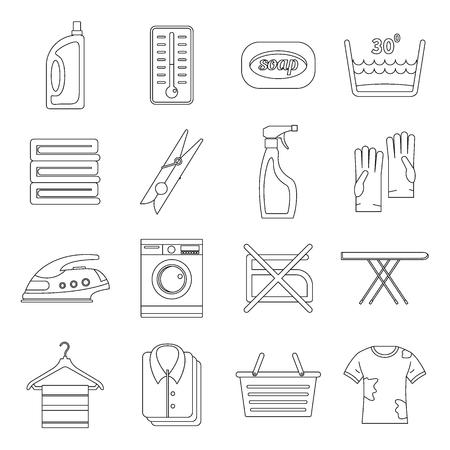 Laundry icons set, outline style Illustration