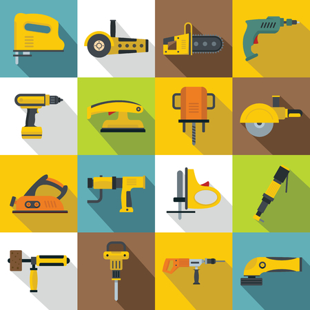 angle grinder: Electric tools icons set, flat style