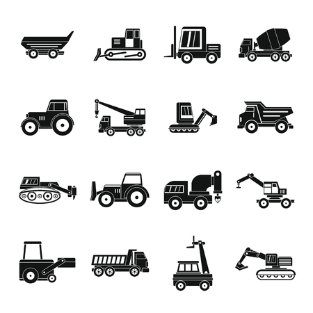 compact track loader: Building vehicles icons set, simple style