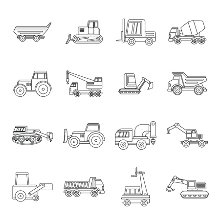 compactor: Building vehicles icons set, outline style
