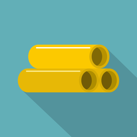 steam iron: Yellow pipes icon, flat style Illustration