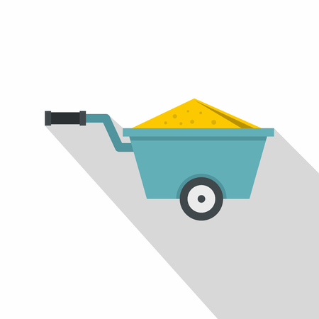 Wheelbarrow full of sand icon, flat style