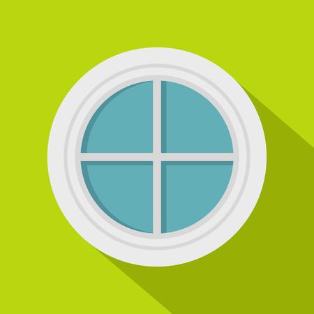 casement: White round window icon, flat style Illustration