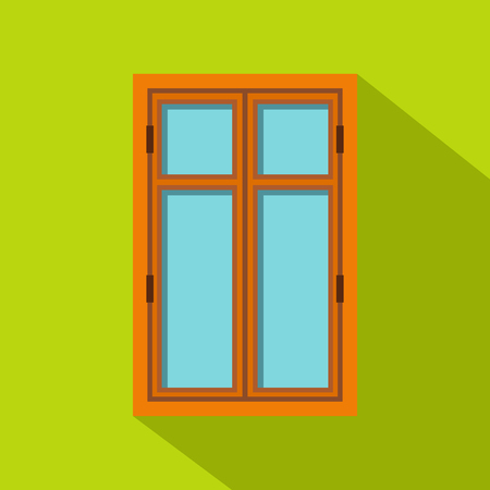 Wooden brown window icon, flat style