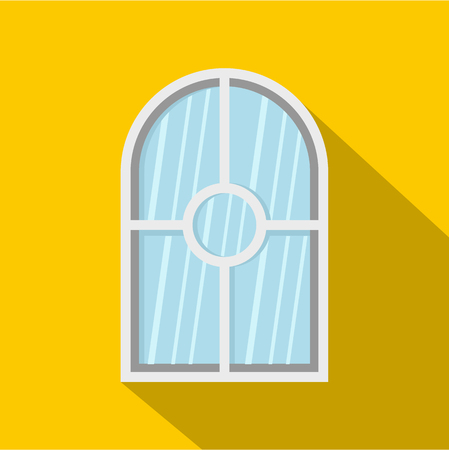 casement: White arched window icon. Flat illustration of white arched window vector icon for web isolated on yellow background